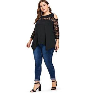 Tops - Plus Size Cut Out Black Detail Fashion Top 18-24W